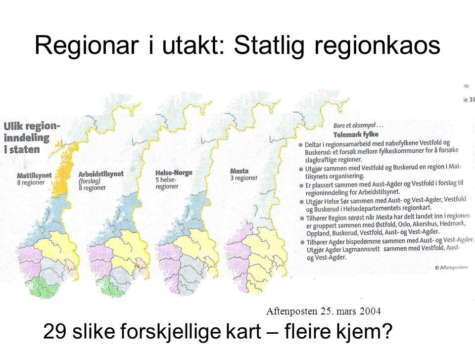 Regionar i utakt: Statlig regionkaos Aftenposten 25.