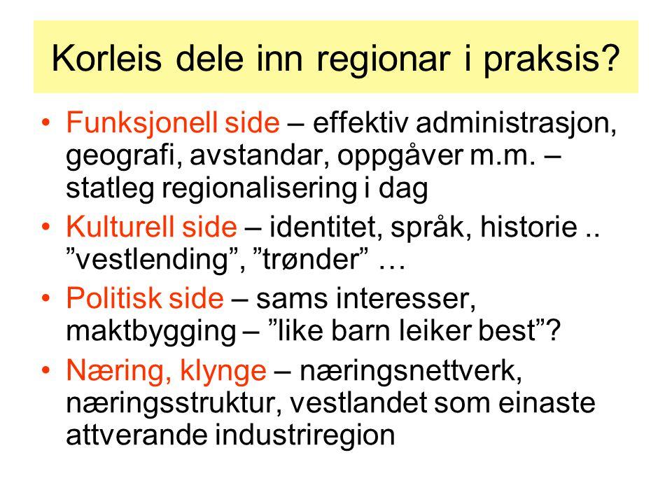 Korleis dele inn regionar i praksis.
