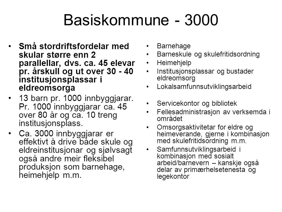 Basiskommune - 3000 Små stordriftsfordelar med skular større enn 2 parallellar, dvs.