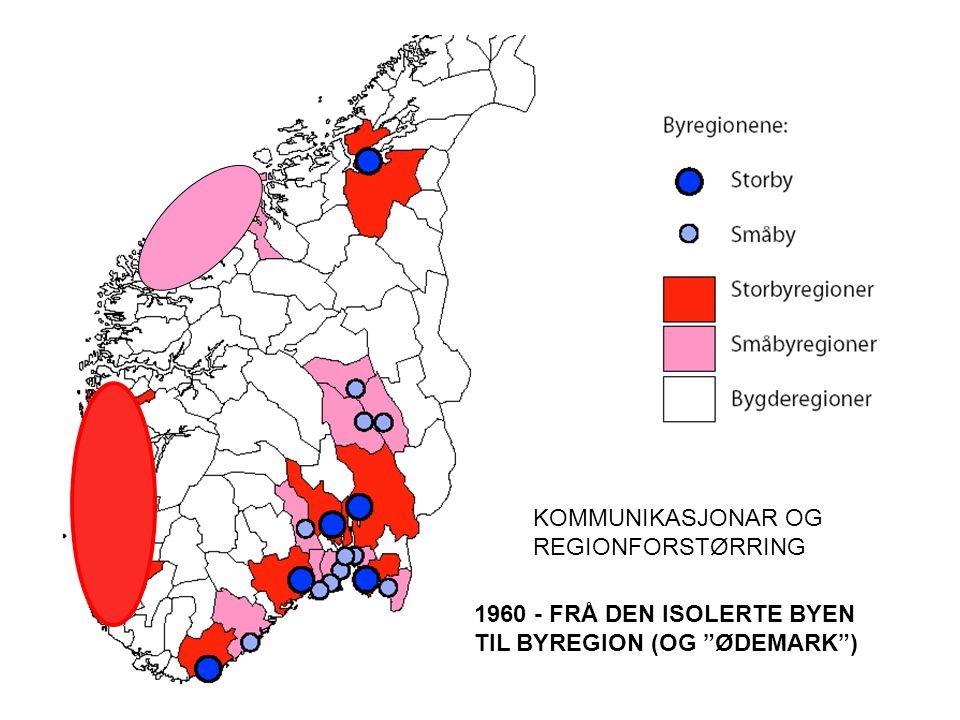 KOMMUNIKASJONAR OG REGIONFORSTØRRING 1960 - FRÅ DEN ISOLERTE BYEN TIL BYREGION (OG ØDEMARK )