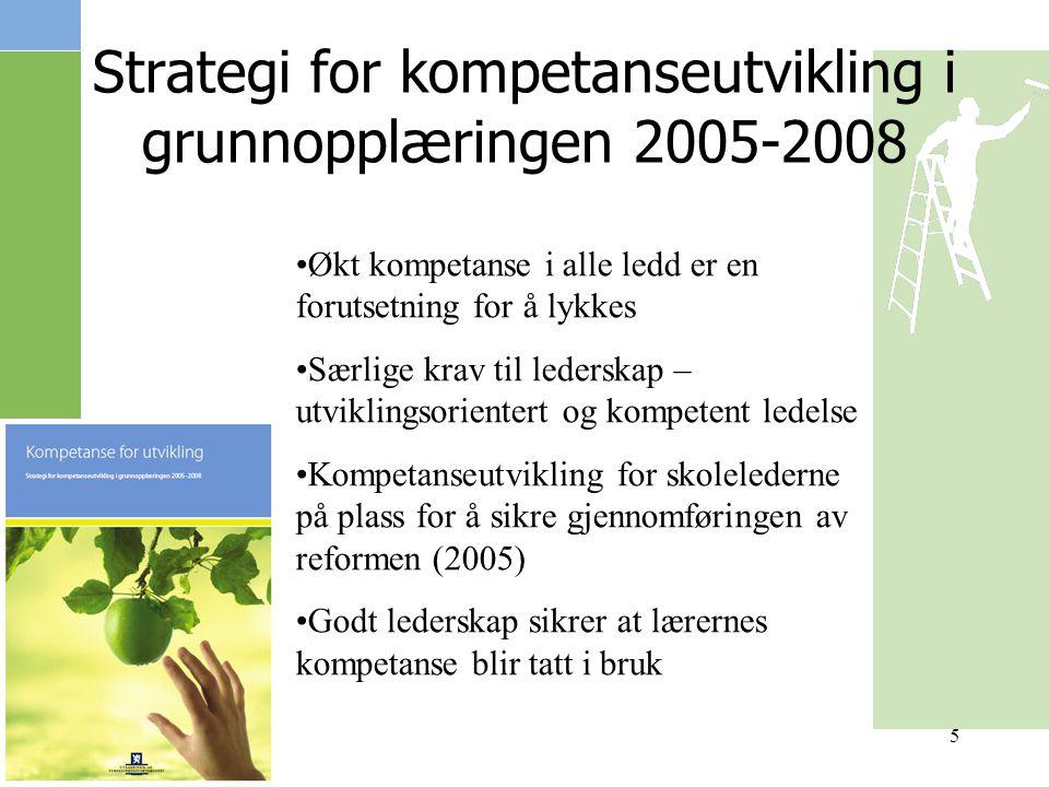 5 Strategi for kompetanseutvikling i grunnopplæringen 2005-2008 Økt kompetanse i alle ledd er en forutsetning for å lykkes Særlige krav til lederskap – utviklingsorientert og kompetent ledelse Kompetanseutvikling for skolelederne på plass for å sikre gjennomføringen av reformen (2005) Godt lederskap sikrer at lærernes kompetanse blir tatt i bruk