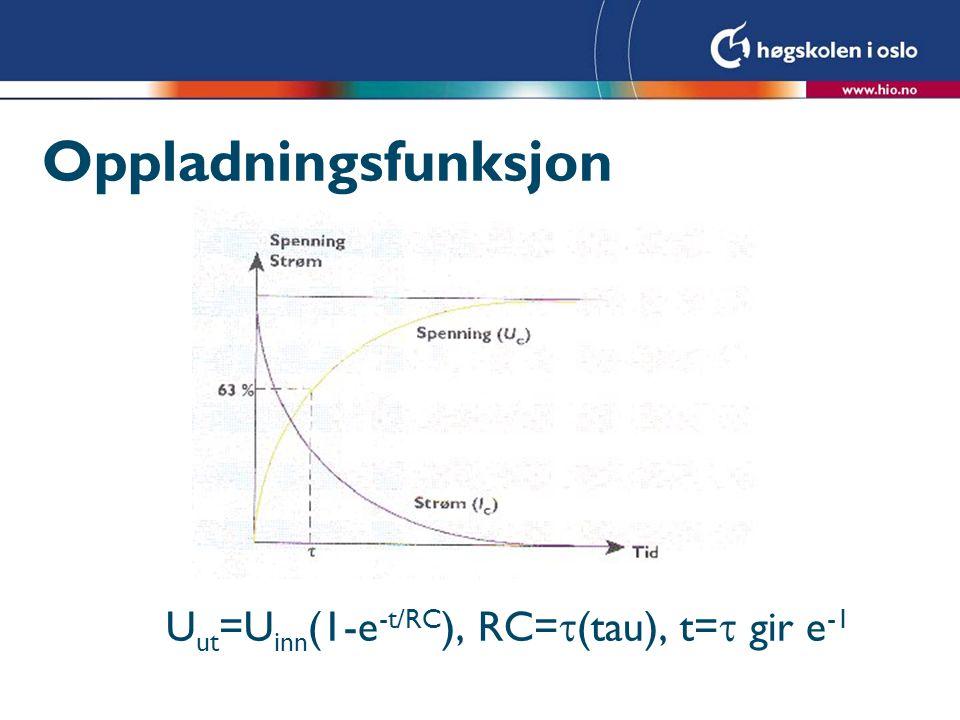 Oppladningsfunksjon U ut =U inn (1-e -t/RC ), RC=  (tau), t=  gir e -1