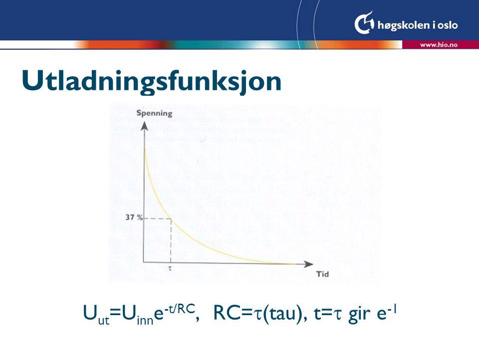 Utladningsfunksjon U ut =U inn e -t/RC, RC=  (tau), t=  gir e -1