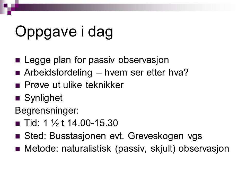 Oppgave i dag Legge plan for passiv observasjon Arbeidsfordeling – hvem ser etter hva.