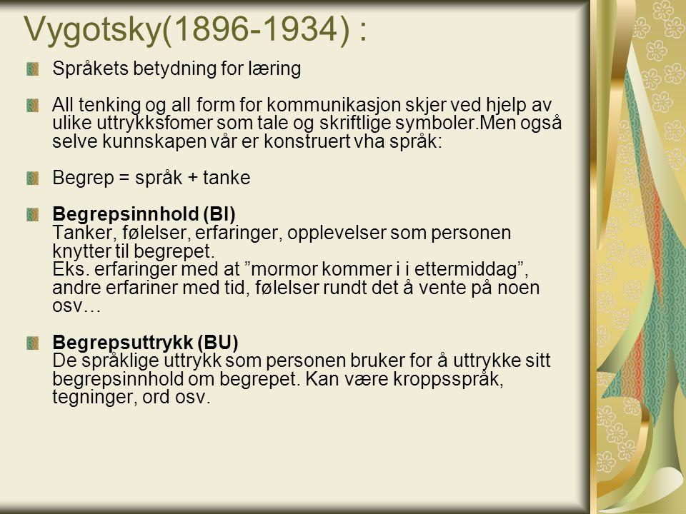 Vygotsky(1896-1934) : Språkets betydning for læring All tenking og all form for kommunikasjon skjer ved hjelp av ulike uttrykksfomer som tale og skrif