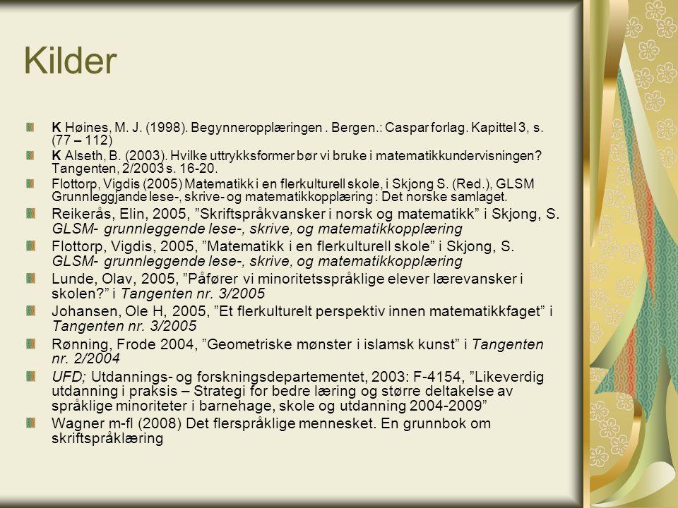 Kilder K Høines, M. J. (1998). Begynneropplæringen. Bergen.: Caspar forlag. Kapittel 3, s. (77 – 112) K Alseth, B. (2003). Hvilke uttrykksformer bør v