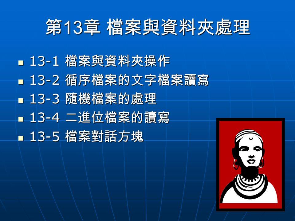 第 13 章 檔案與資料夾處理 13-1 檔案與資料夾操作 13-1 檔案與資料夾操作 13-2 循序檔案的文字檔案讀寫 13-2 循序檔案的文字檔案讀寫 13-3 隨機檔案的處理 13-3 隨機檔案的處理 13-4 二進位檔案的讀寫 13-4 二進位檔案的讀寫 13-5 檔案對話方塊 13-5 檔案對話方塊