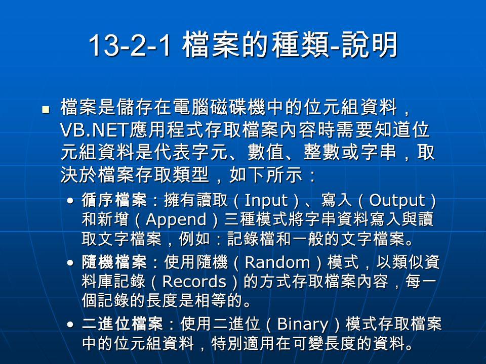 13-2-1 檔案的種類 - 說明 檔案是儲存在電腦磁碟機中的位元組資料, VB.NET 應用程式存取檔案內容時需要知道位 元組資料是代表字元、數值、整數或字串,取 決於檔案存取類型,如下所示: 檔案是儲存在電腦磁碟機中的位元組資料, VB.NET 應用程式存取檔案內容時需要知道位 元組資料是代表字元、數值、整數或字串,取 決於檔案存取類型,如下所示: 循序檔案:擁有讀取( Input )、寫入( Output ) 和新增( Append )三種模式將字串資料寫入與讀 取文字檔案,例如:記錄檔和一般的文字檔案。 循序檔案:擁有讀取( Input )、寫入( Output ) 和新增( Append )三種模式將字串資料寫入與讀 取文字檔案,例如:記錄檔和一般的文字檔案。 隨機檔案:使用隨機( Random )模式,以類似資 料庫記錄( Records )的方式存取檔案內容,每一 個記錄的長度是相等的。 隨機檔案:使用隨機( Random )模式,以類似資 料庫記錄( Records )的方式存取檔案內容,每一 個記錄的長度是相等的。 二進位檔案:使用二進位( Binary )模式存取檔案 中的位元組資料,特別適用在可變長度的資料。 二進位檔案:使用二進位( Binary )模式存取檔案 中的位元組資料,特別適用在可變長度的資料。