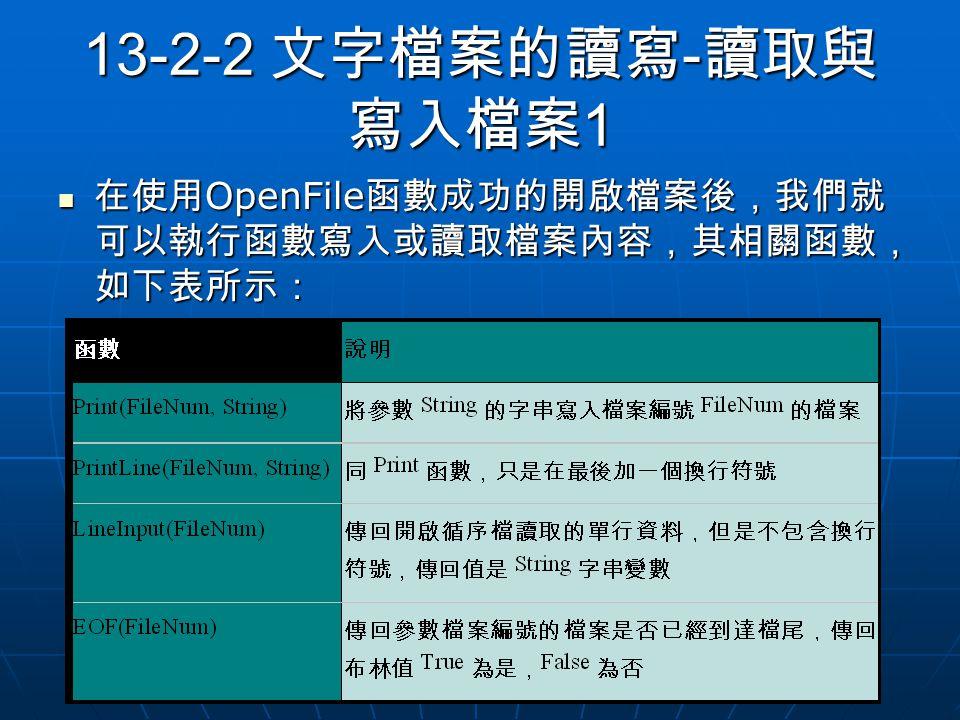 13-2-2 文字檔案的讀寫 - 讀取與 寫入檔案 1 在使用 OpenFile 函數成功的開啟檔案後,我們就 可以執行函數寫入或讀取檔案內容,其相關函數, 如下表所示: 在使用 OpenFile 函數成功的開啟檔案後,我們就 可以執行函數寫入或讀取檔案內容,其相關函數, 如下表所示: