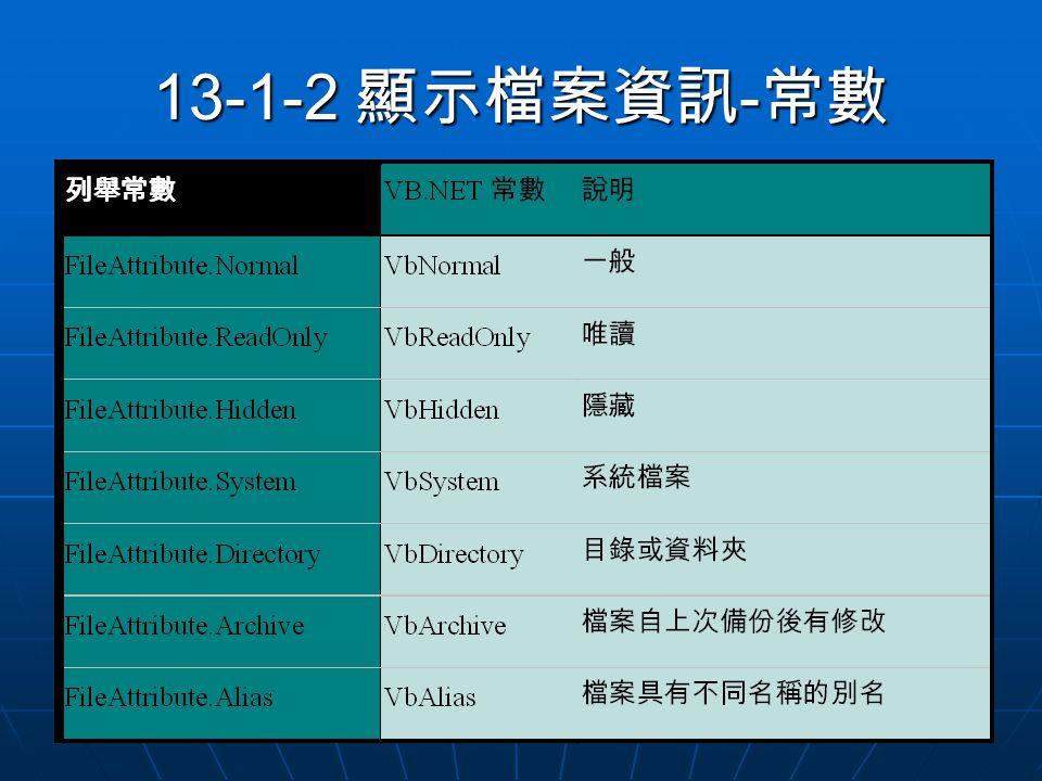 13-1-2 顯示檔案資訊 - 常數