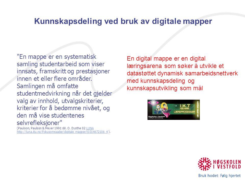 En digital mappe er en digital læringsarena som søker å utvikle et datastøttet dynamisk samarbeidsnettverk med kunnskapsdeling og kunnskapsutvikling som mål Kunnskapsdeling ved bruk av digitale mapper En mappe er en systematisk samling studentarbeid som viser innsats, framskritt og prestasjoner innen et eller flere områder.