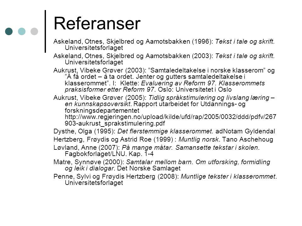 Referanser Askeland, Otnes, Skjelbred og Aamotsbakken (1996): Tekst i tale og skrift.