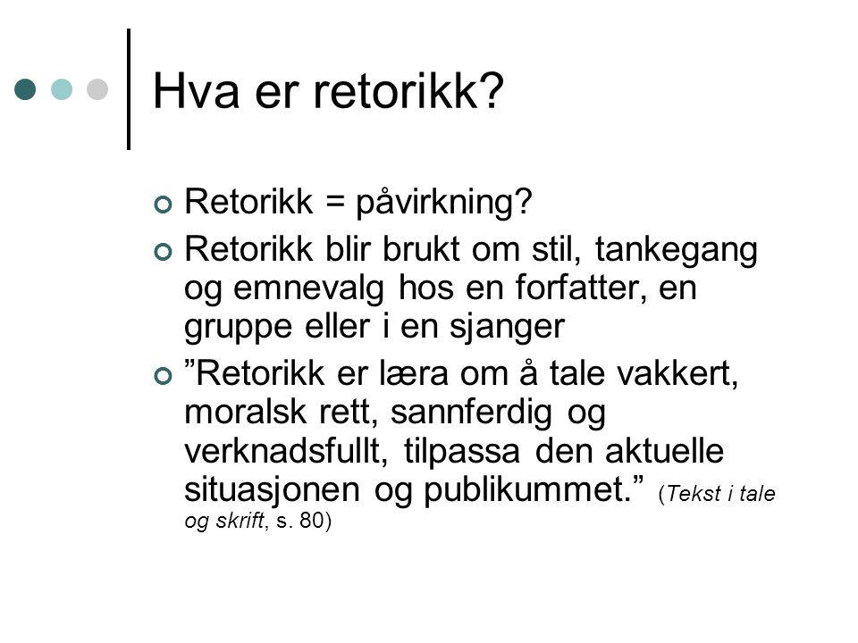 Hva er retorikk.Retorikk = påvirkning.