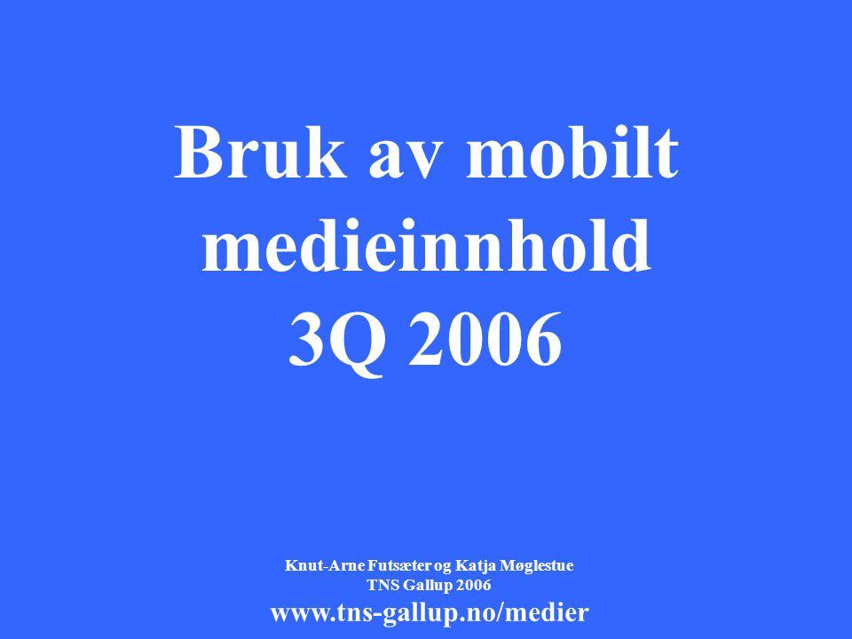 1 Bruk av mobilt medieinnhold 3Q 2006 Knut-Arne Futsæter og Katja Møglestue TNS Gallup 2006 www.tns-gallup.no/medier