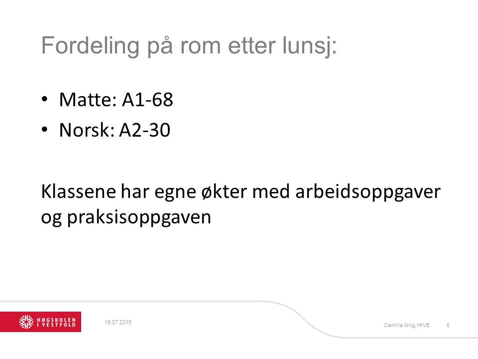 Fordeling på rom etter lunsj: Matte: A1-68 Norsk: A2-30 Klassene har egne økter med arbeidsoppgaver og praksisoppgaven 16.07.2015 Camilla Wiig, HIVE6