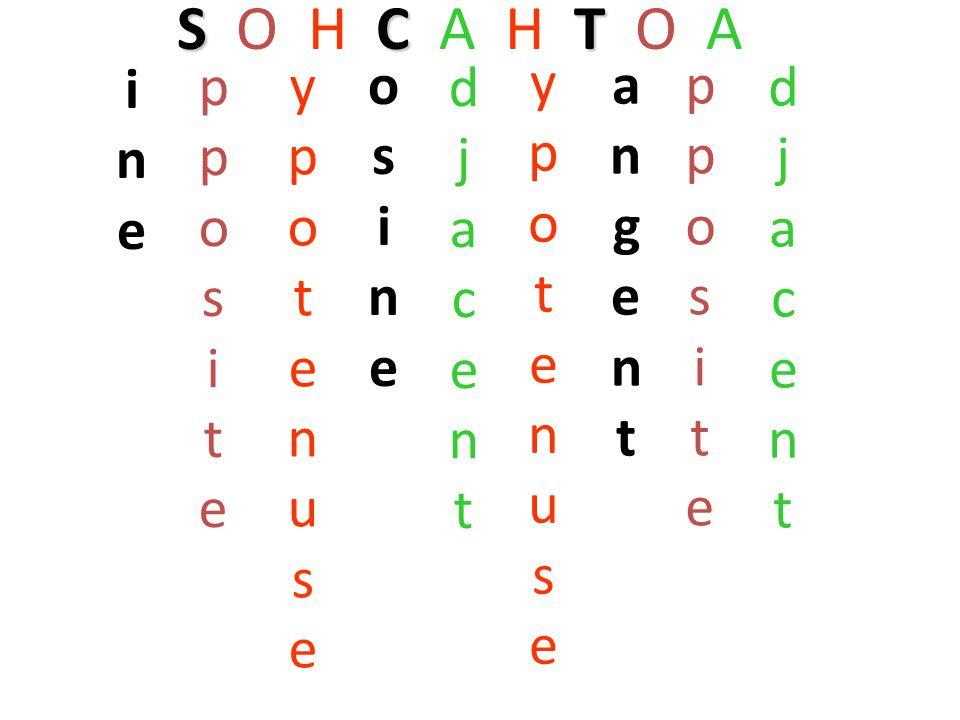 SCT S O H C A H T O A ineine ppositepposite ypotenuseypotenuse osineosine djacentdjacent ypotenuseypotenuse angentangent ppositepposite djacentdjacent
