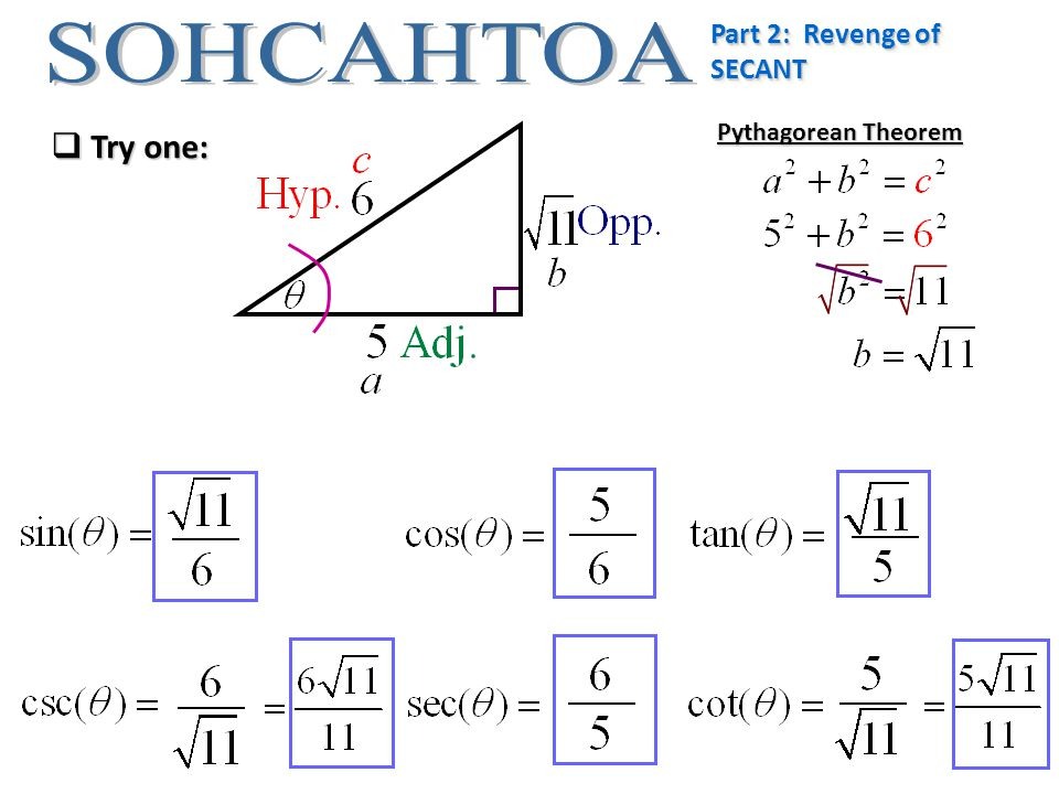 Part 2: Revenge of SECANT  Try one: Pythagorean Theorem