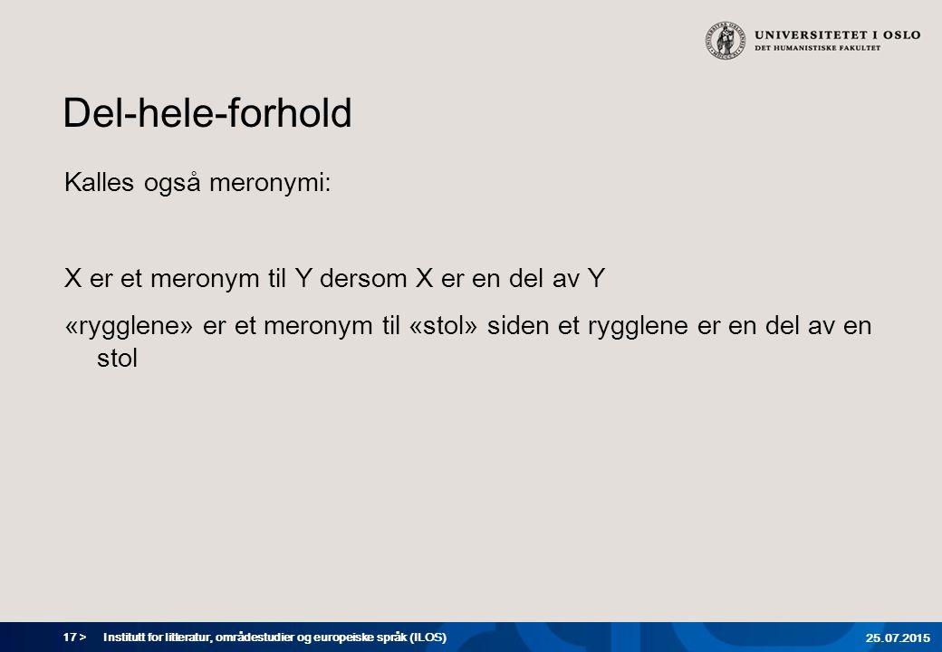 17 > Del-hele-forhold Kalles også meronymi: X er et meronym til Y dersom X er en del av Y «rygglene» er et meronym til «stol» siden et rygglene er en del av en stol Institutt for litteratur, områdestudier og europeiske språk (ILOS) 25.07.2015