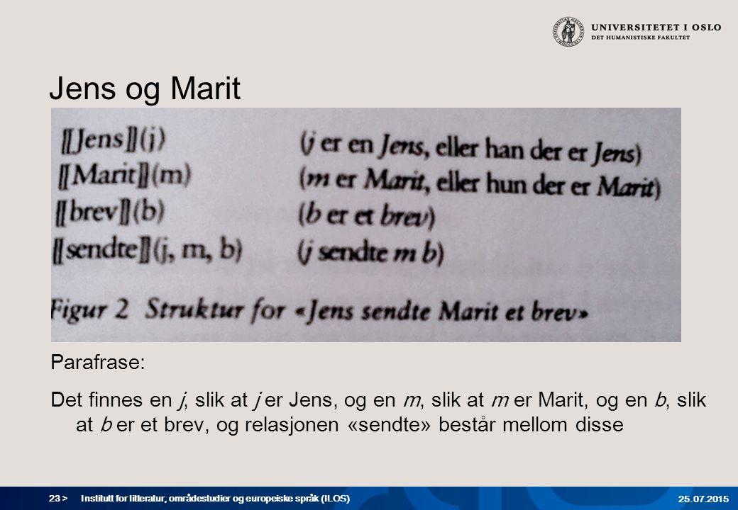 23 > Jens og Marit Parafrase: Det finnes en j, slik at j er Jens, og en m, slik at m er Marit, og en b, slik at b er et brev, og relasjonen «sendte» består mellom disse Institutt for litteratur, områdestudier og europeiske språk (ILOS) 25.07.2015