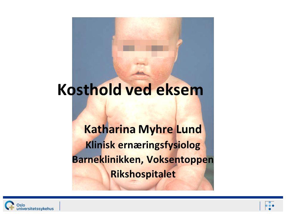 Dagens agenda Sammenheng mellom atopisk dermatitt (AD) og matvareallergi.