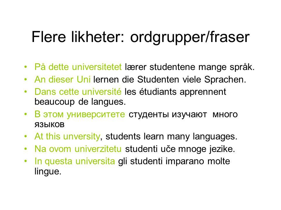 Flere likheter: ordgrupper/fraser På dette universitetet lærer studentene mange språk. An dieser Uni lernen die Studenten viele Sprachen. Dans cette u
