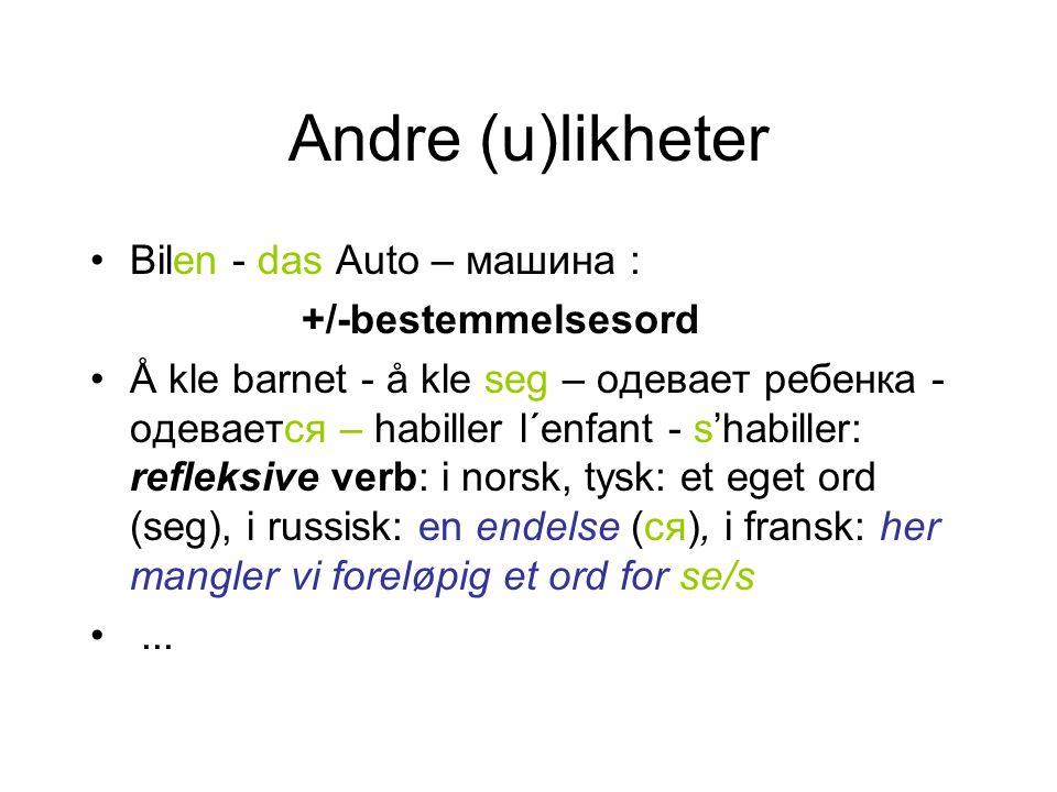 Andre (u)likheter Bilen - das Auto – машинa : +/-bestemmelsesord Å kle barnet - å kle seg – одевает ребенка - одевается – habiller l´enfant - s'habill