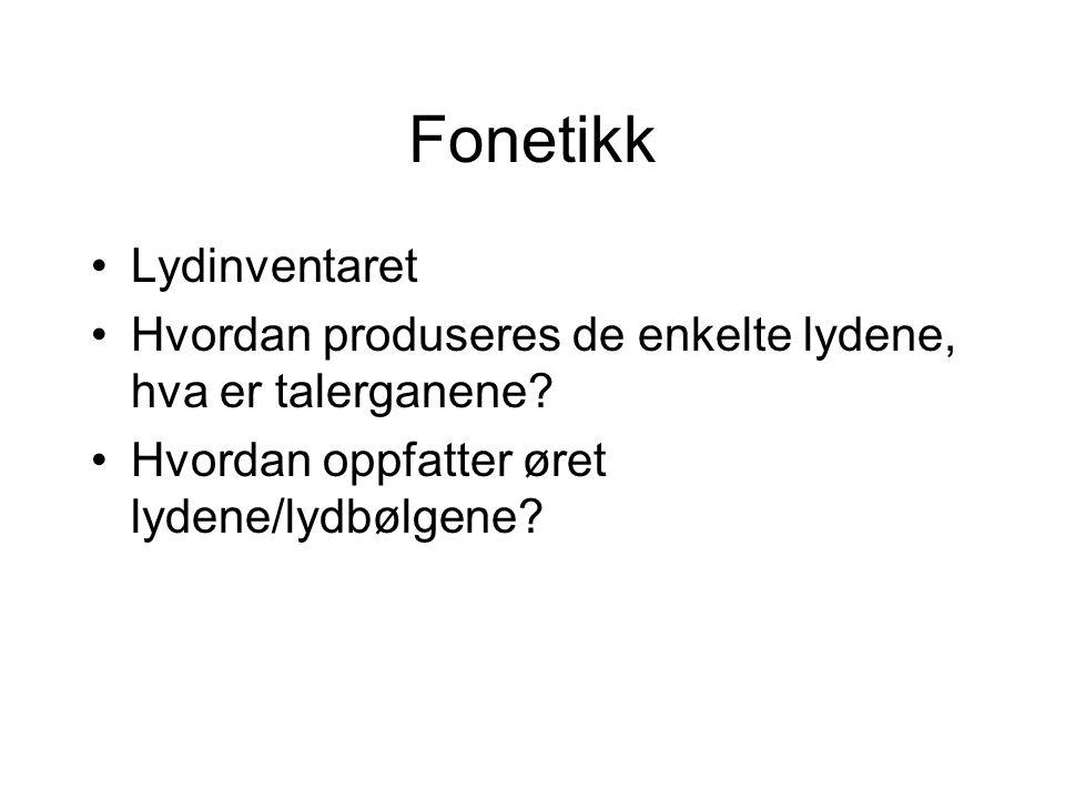 Fonetikk Lydinventaret Hvordan produseres de enkelte lydene, hva er talerganene? Hvordan oppfatter øret lydene/lydbølgene?