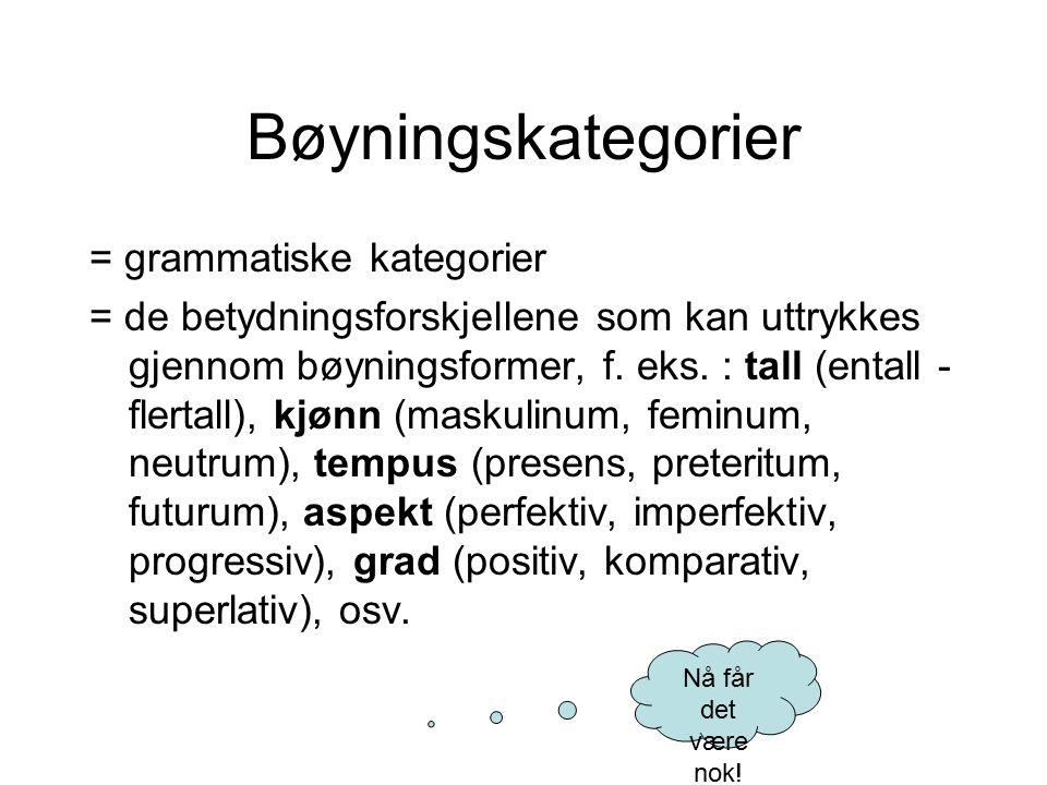 Bøyningskategorier = grammatiske kategorier = de betydningsforskjellene som kan uttrykkes gjennom bøyningsformer, f. eks. : tall (entall - flertall),
