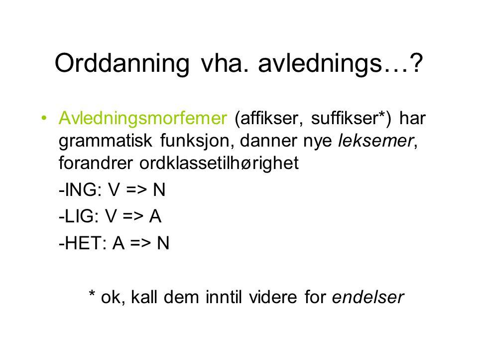 Orddanning vha. avlednings…? Avledningsmorfemer (affikser, suffikser*) har grammatisk funksjon, danner nye leksemer, forandrer ordklassetilhørighet -I