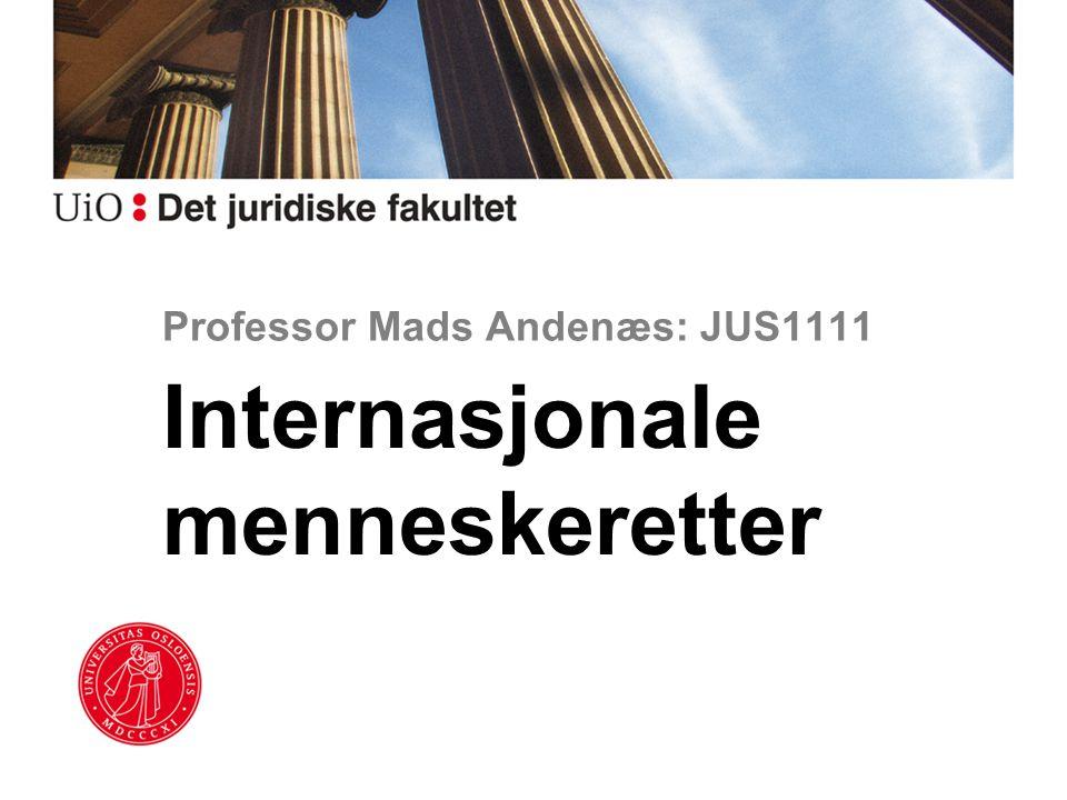 Professor Mads Andenæs: JUS1111 Internasjonale menneskeretter