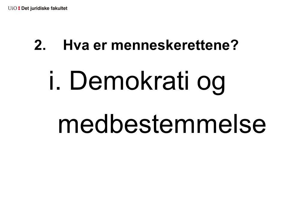 2.Hva er menneskerettene? i. Demokrati og medbestemmelse