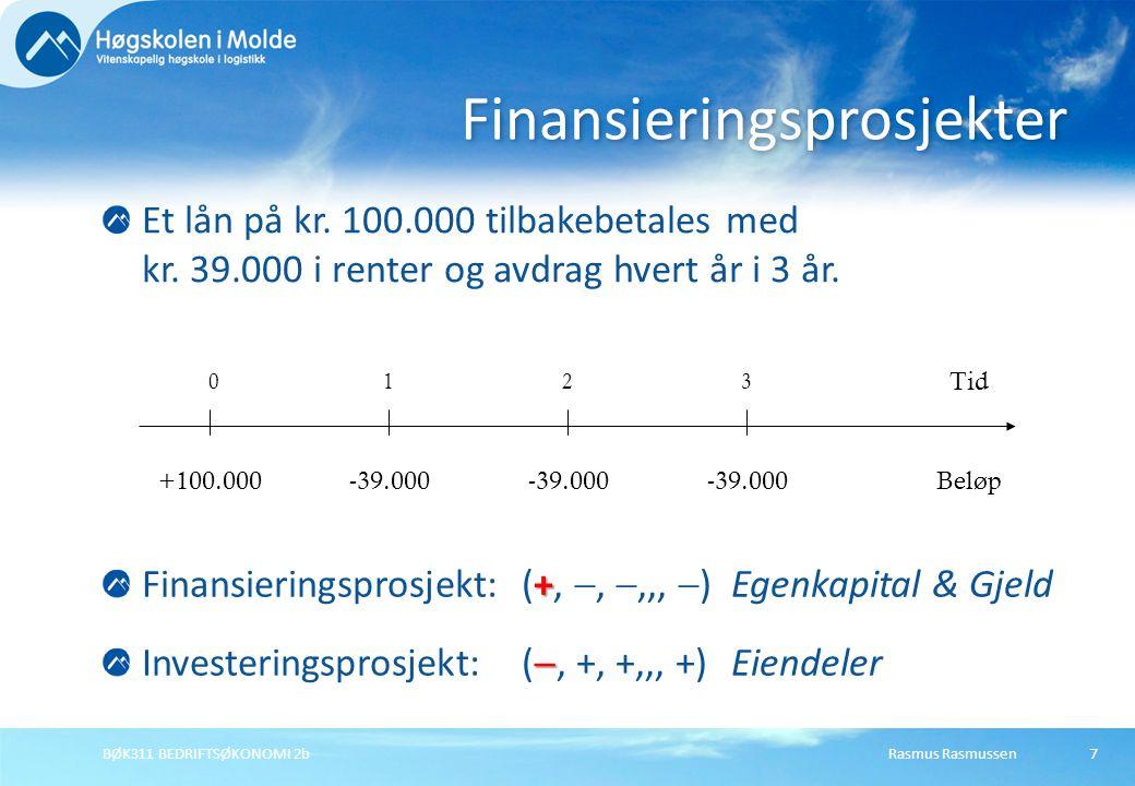 Rasmus RasmussenBØK311 BEDRIFTSØKONOMI 2b7 Et lån på kr. 100.000 tilbakebetales med kr. 39.000 i renter og avdrag hvert år i 3 år. Finansieringsprosje