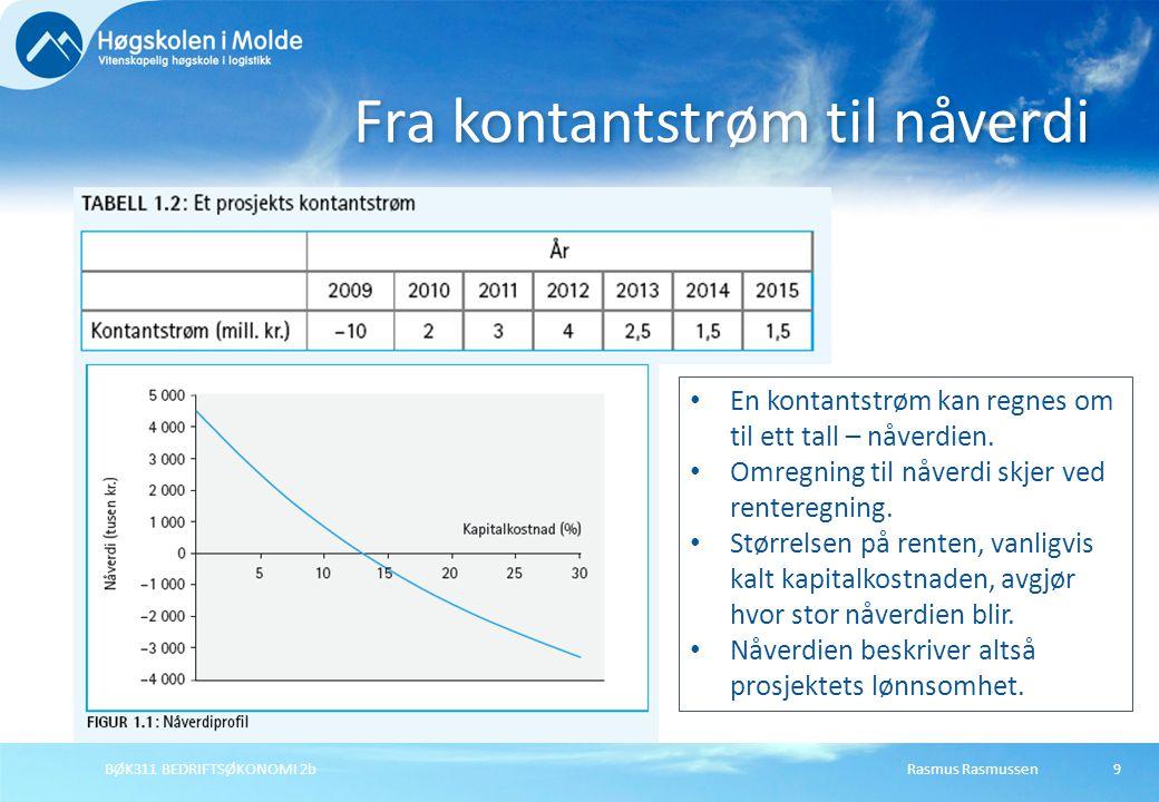 Rasmus RasmussenBØK311 BEDRIFTSØKONOMI 2b9 Fra kontantstrøm til nåverdi En kontantstrøm kan regnes om til ett tall – nåverdien. Omregning til nåverdi