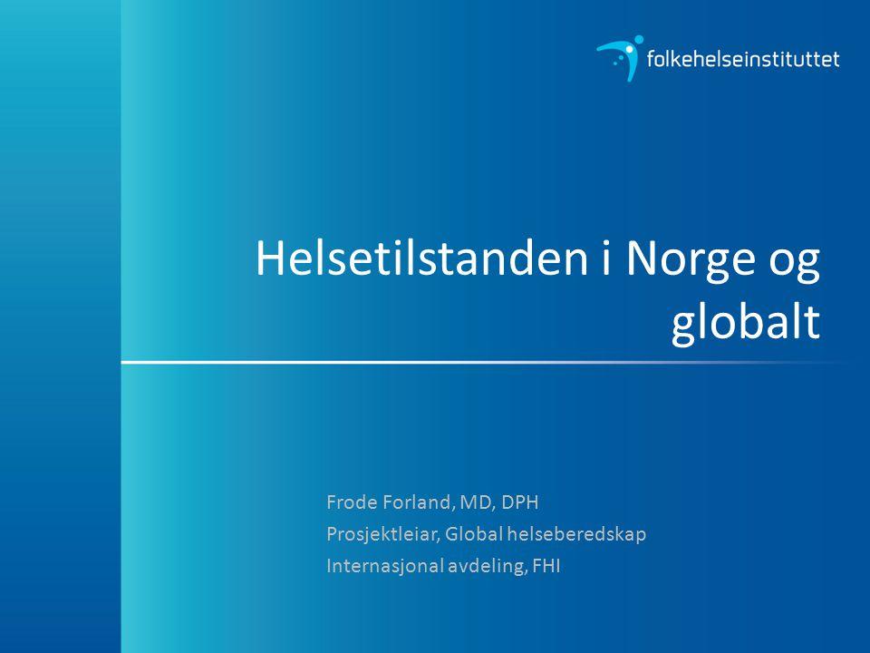 Mål for folkehelsearbeidet i Norge Norge skal vere blant dei tre landa i verda som har høgast levealder Befolkninga skal oppleve fleire leveår med god helse og trivsel Vi skal skape eit samfunn som fremjer helse i heile befolkninga og reduserer sosiale skilnader i helse