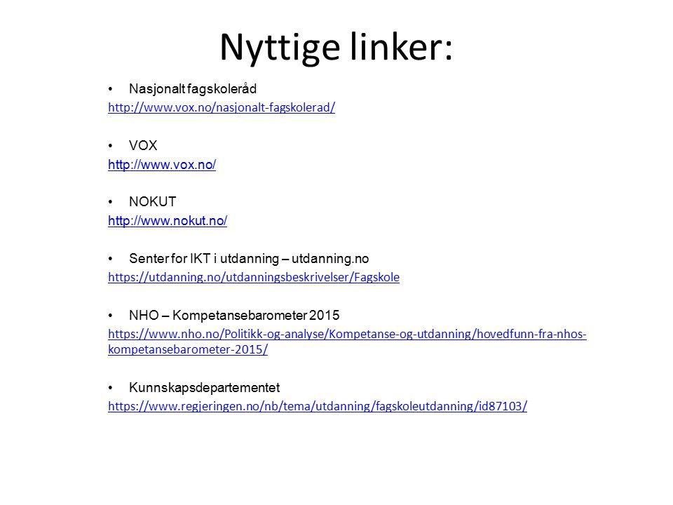 Nyttige linker: Nasjonalt fagskoleråd http://www.vox.no/nasjonalt-fagskolerad/ VOX http://www.vox.no/ NOKUT http://www.nokut.no/ Senter for IKT i utda