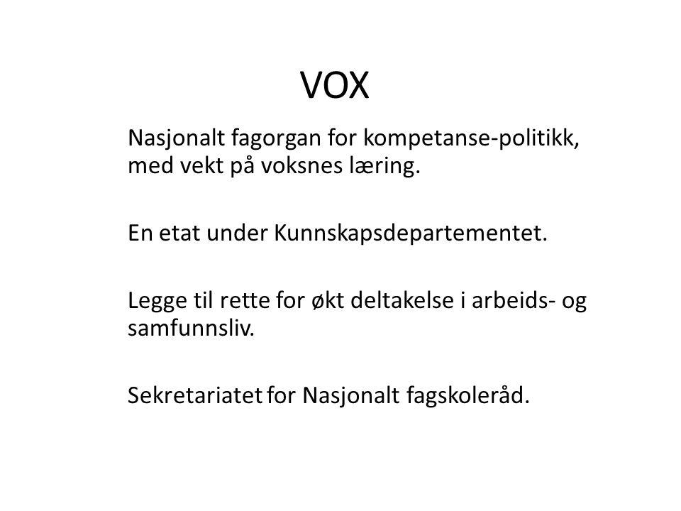 VOX Nasjonalt fagorgan for kompetanse-politikk, med vekt på voksnes læring. En etat under Kunnskapsdepartementet. Legge til rette for økt deltakelse i