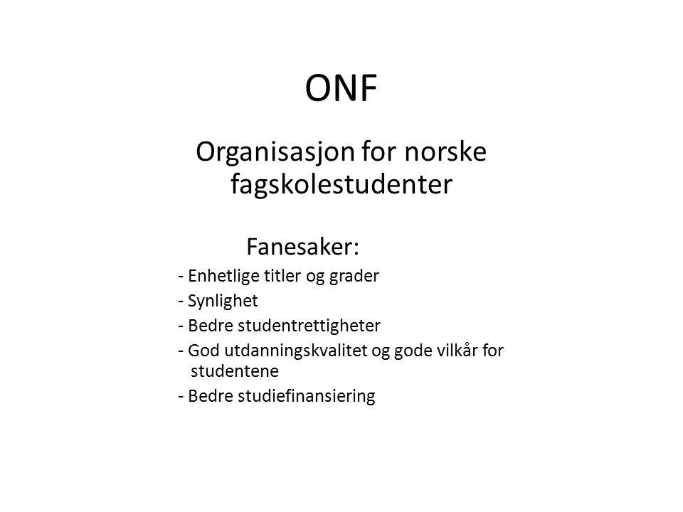 ONF Organisasjon for norske fagskolestudenter Fanesaker: - Enhetlige titler og grader - Synlighet - Bedre studentrettigheter - God utdanningskvalitet