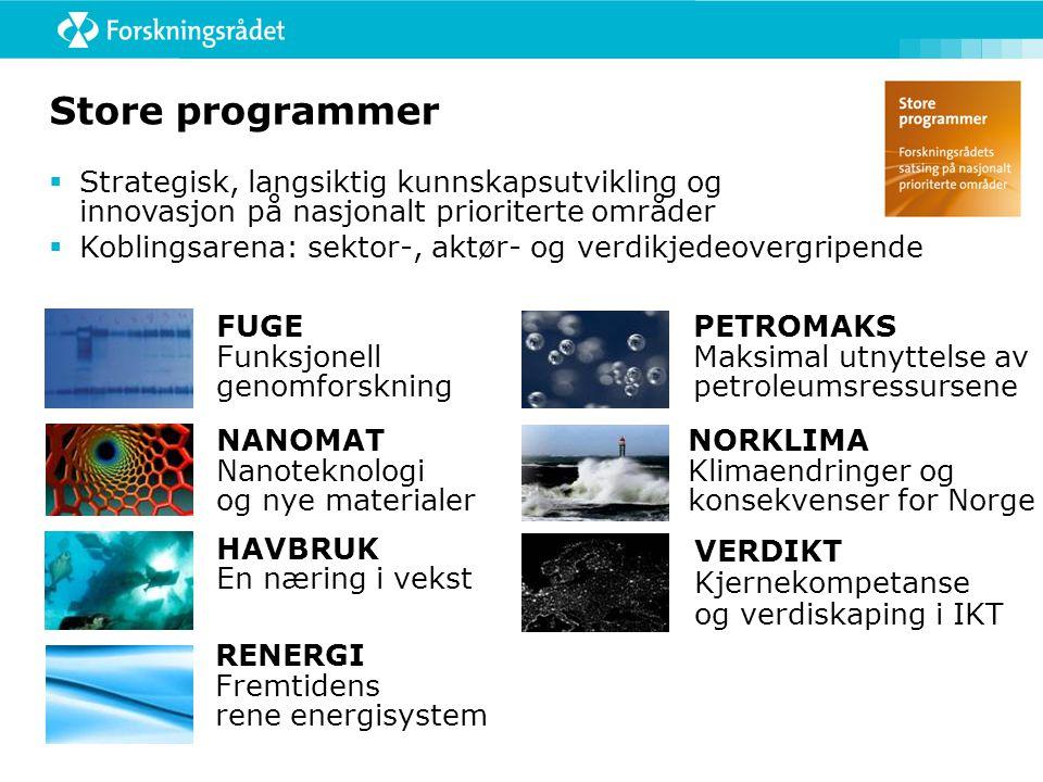 Store programmer VERDIKT Kjernekompetanse og verdiskaping i IKT  Strategisk, langsiktig kunnskapsutvikling og innovasjon på nasjonalt prioriterte områder  Koblingsarena: sektor-, aktør- og verdikjedeovergripende NORKLIMA Klimaendringer og konsekvenser for Norge PETROMAKS Maksimal utnyttelse av petroleumsressursene RENERGI Fremtidens rene energisystem NANOMAT Nanoteknologi og nye materialer FUGE Funksjonell genomforskning HAVBRUK En næring i vekst