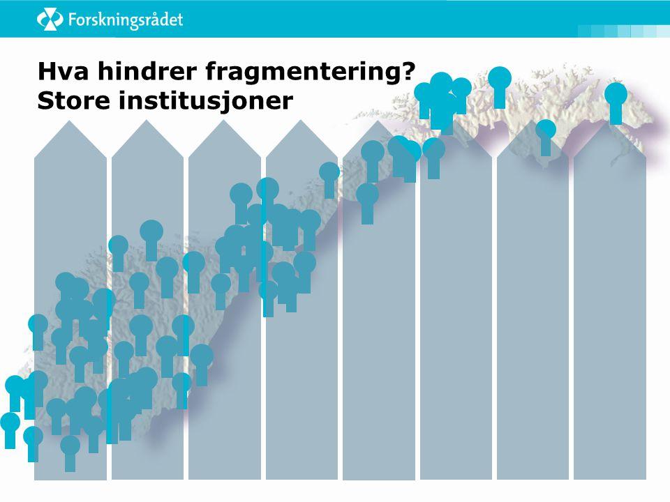 Hva hindrer fragmentering Store institusjoner
