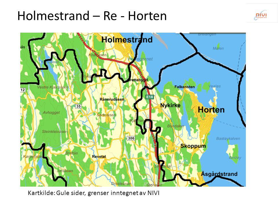 Kartkilde: Gule sider, grenser inntegnet av NIVI Holmestrand – Re - Horten