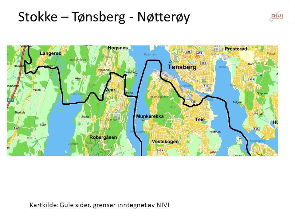Kartkilde: Gule sider, grenser inntegnet av NIVI Stokke – Tønsberg - Nøtterøy