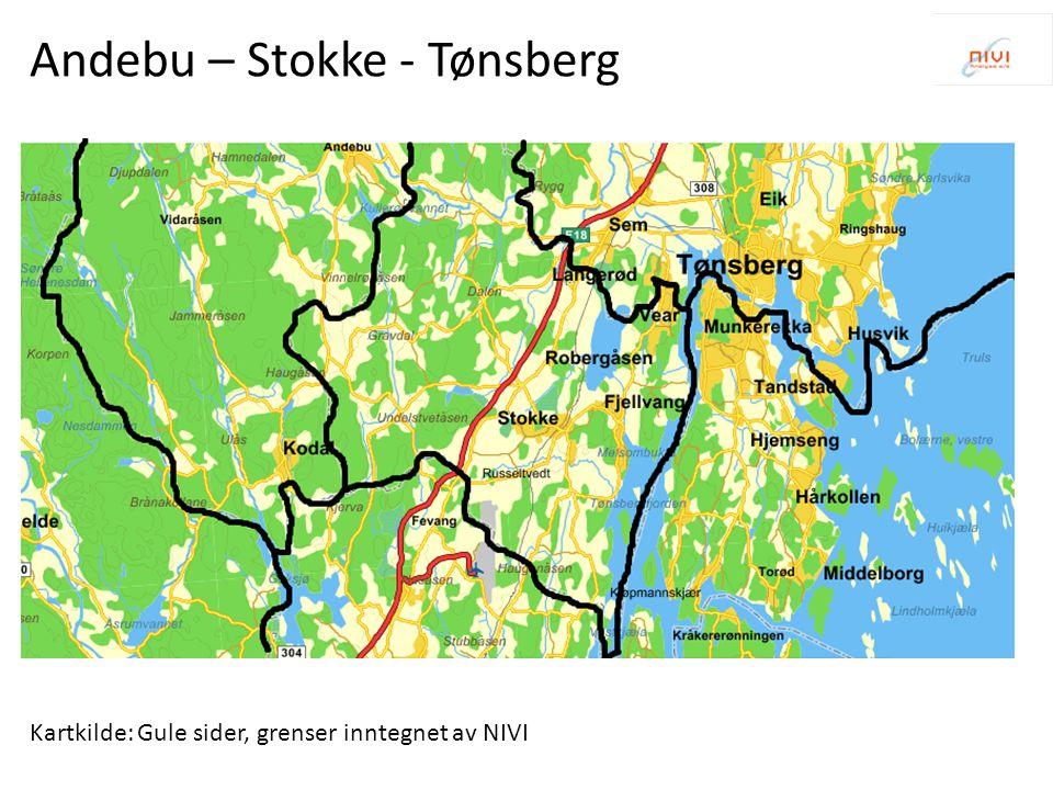 Kartkilde: Gule sider, grenser inntegnet av NIVI Andebu – Stokke - Tønsberg