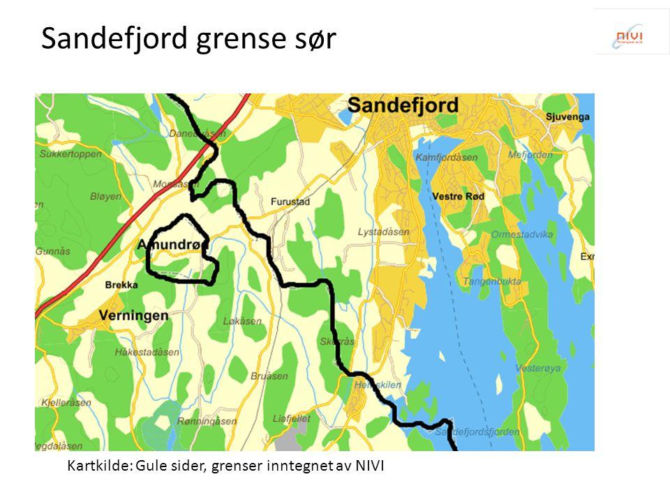 Kartkilde: Gule sider, grenser inntegnet av NIVI Sandefjord grense sør