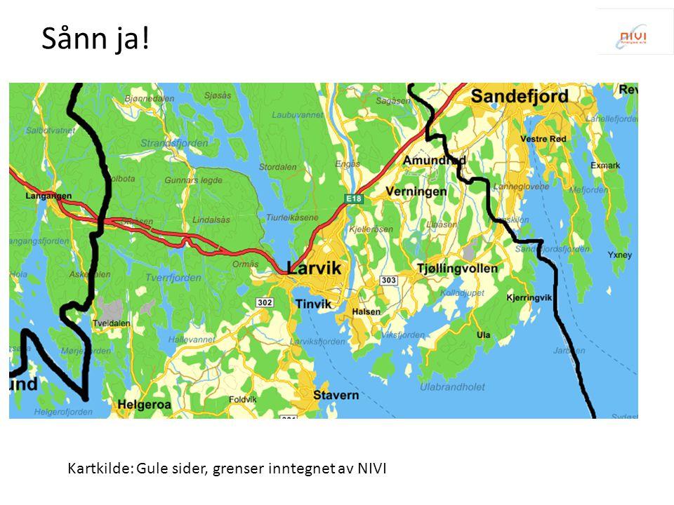 Kartkilde: Gule sider, grenser inntegnet av NIVI Sånn ja!
