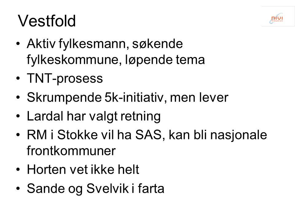 Vestfold Aktiv fylkesmann, søkende fylkeskommune, løpende tema TNT-prosess Skrumpende 5k-initiativ, men lever Lardal har valgt retning RM i Stokke vil
