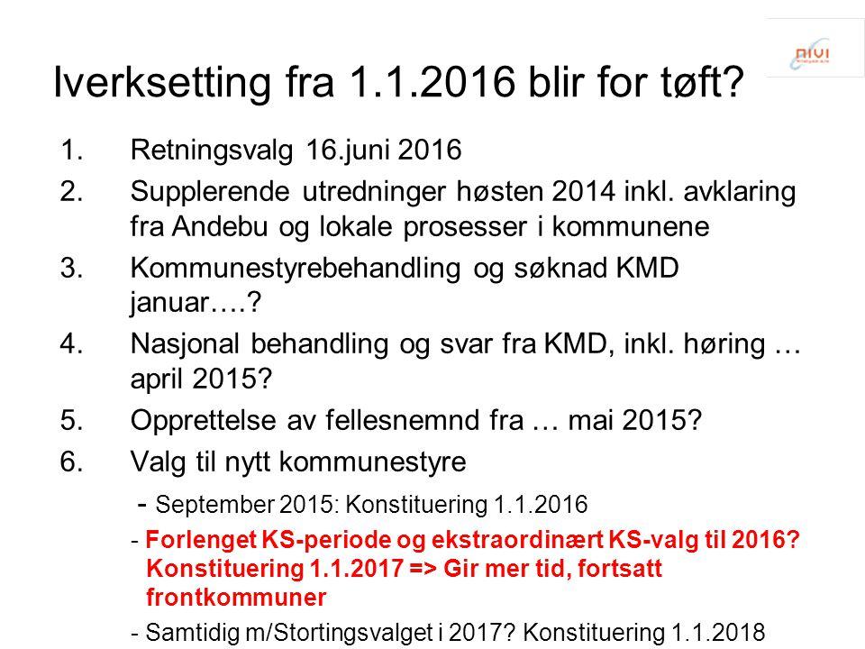 Iverksetting fra 1.1.2016 blir for tøft? 1.Retningsvalg 16.juni 2016 2.Supplerende utredninger høsten 2014 inkl. avklaring fra Andebu og lokale proses