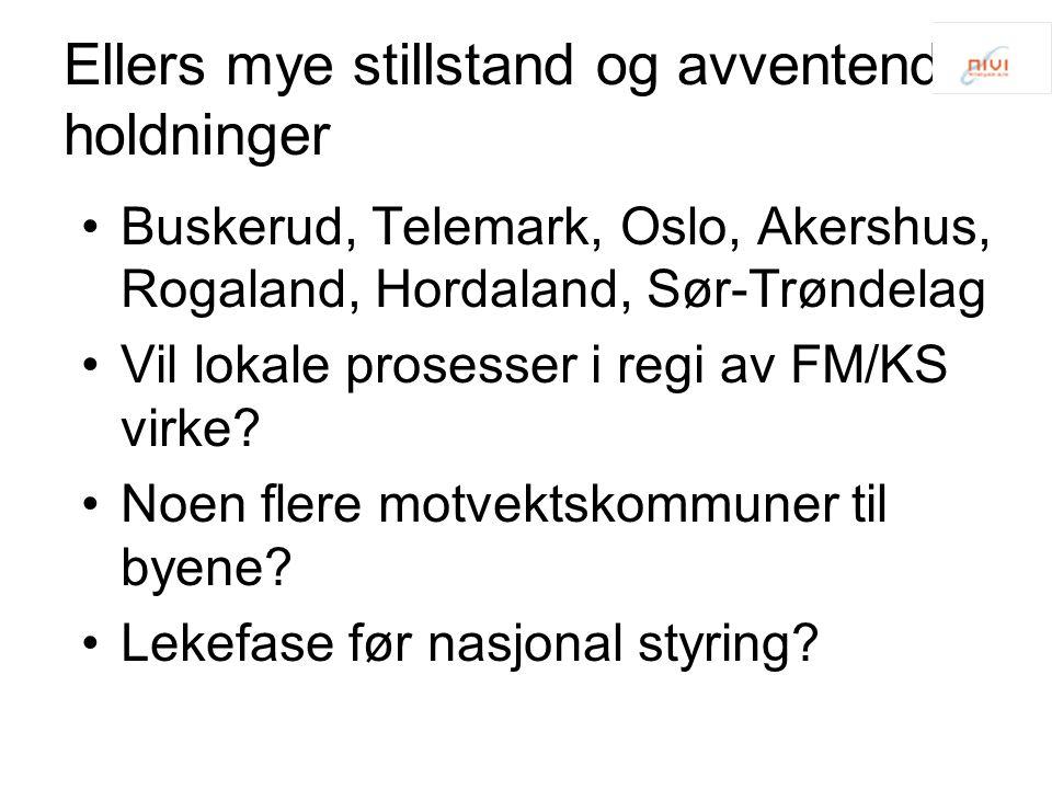 Ellers mye stillstand og avventende holdninger Buskerud, Telemark, Oslo, Akershus, Rogaland, Hordaland, Sør-Trøndelag Vil lokale prosesser i regi av F