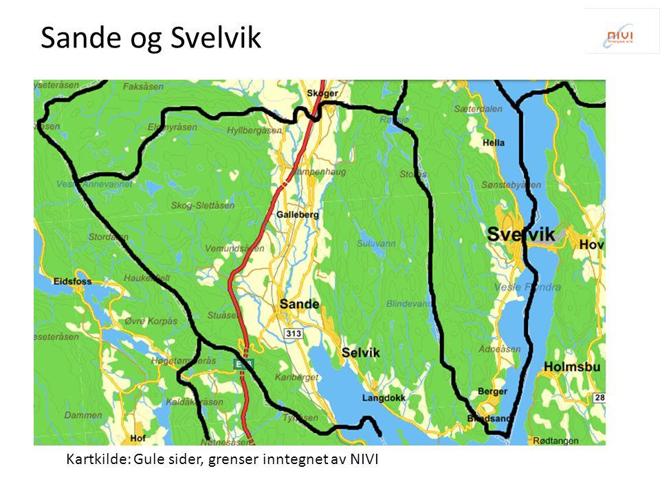 Kartkilde: Gule sider, grenser inntegnet av NIVI Holmestrand - Hof