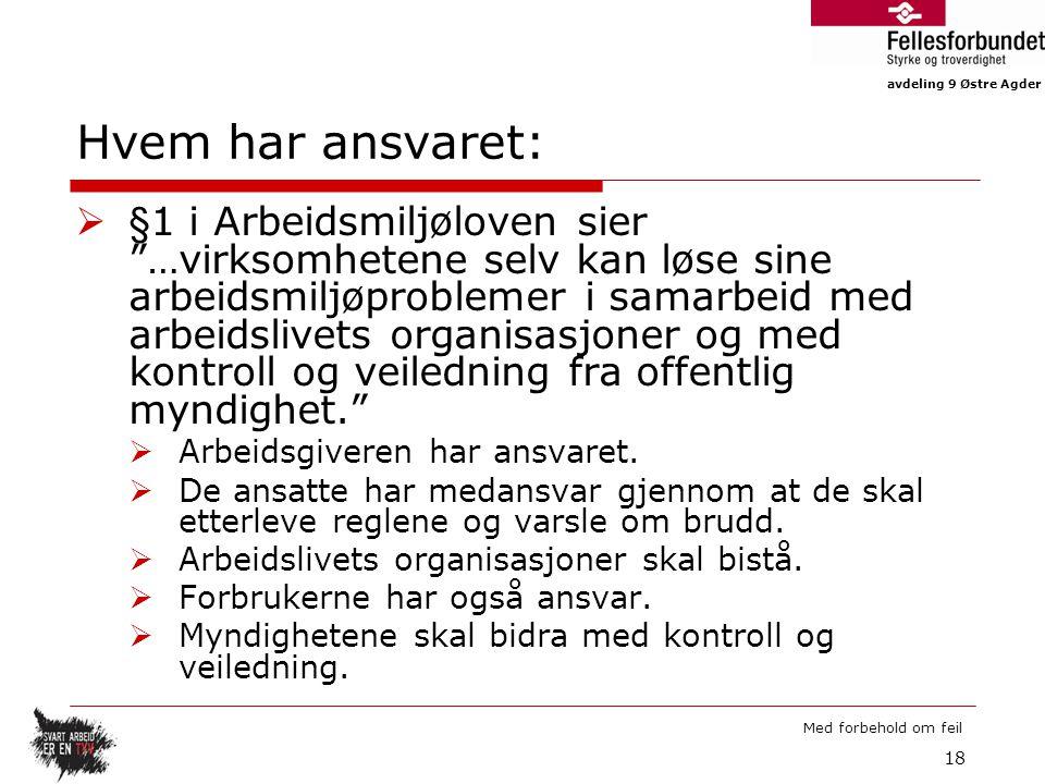 """avdeling 9 Østre Agder Med forbehold om feil Hvem har ansvaret:  §1 i Arbeidsmiljøloven sier """"…virksomhetene selv kan løse sine arbeidsmiljøproblemer"""