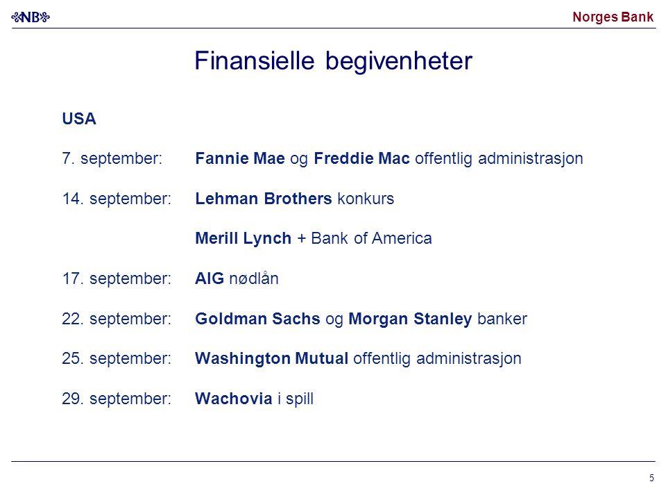 Norges Bank 5 Finansielle begivenheter USA 7.